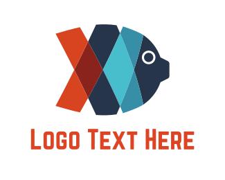Fish Market - Ribbon Fish logo design