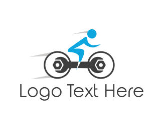 Blue Bike - Fast Repair Wrench Bike logo design