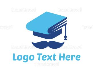 Moustache - Graduation Hat logo design
