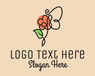 Peony - Flower Butterfly Outline  logo design