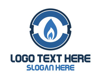 Fuel - Blue Gas Flame logo design