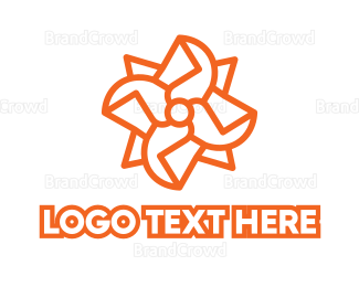 Rotation - Propeller Monogram Outline logo design