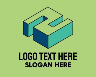 Arcade - 3D Pixel Letter N logo design