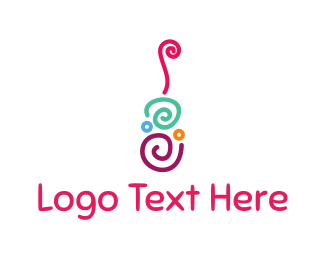 Folk - Guitar Swirls logo design