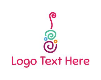 Bass - Guitar Swirls logo design