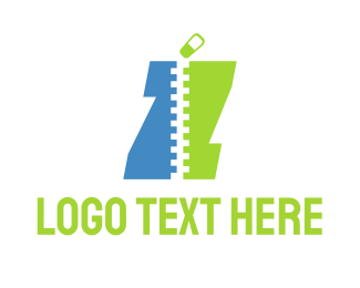 Seamstress - Blue & Green Zipper logo design