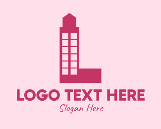 Pink Building - Red Letter L Tower logo design