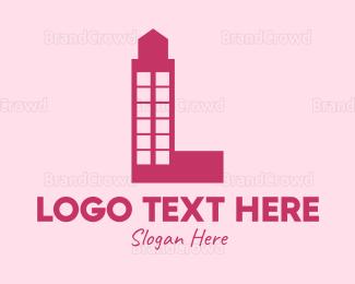 Letter L - Red Letter L Tower logo design