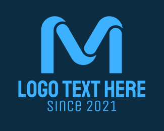 Blue Initial Letter M Logo