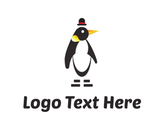 Cartoon Character - Penguin & Hat logo design