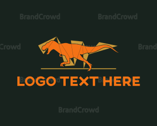 Carnivore - Orange Dinosaur logo design