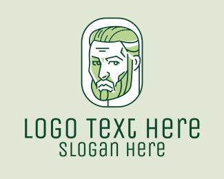 Man Bun - Green Handsome Man  logo design
