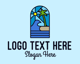 Stained - Island Beach Mosaic  logo design