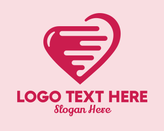 Crush - Pink Fast Heart  logo design