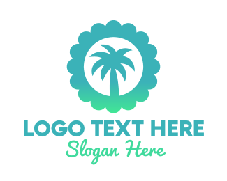 Spring Break - Blue Tropical Palm Tree  logo design