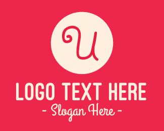Initial - Pink Handwritten Letter U logo design