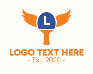 Paddle - Table Tennis Wings Lettermark logo design