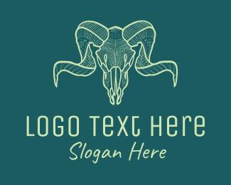 Goth - Green Capricorn Skull logo design