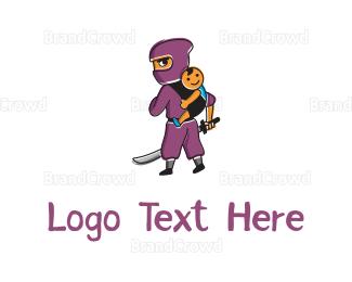 Fighting - Ninja & Kid logo design