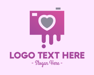 Pink Heart - Instagram Love Photography logo design