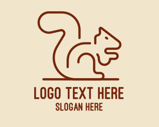 Tree Squirrel - Minimalist Brown Squirrel   logo design
