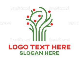 Therapeutic - Green Vine Tree logo design