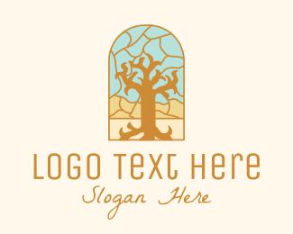 Parish - Multicolor Stained Glass Tree  logo design