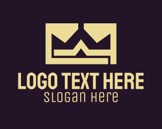 Unemployment - Gold Crown Monogram logo design