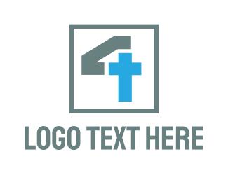 Catholic - Monogram Cross Number 4 logo design