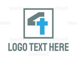 Belief - Monogram Cross Number 4 logo design