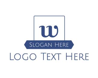 University - Blue W Emblem logo design