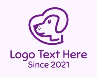 Heart - Purple Pet Dog logo design
