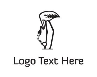Flamingo - Mother Flamingo  logo design