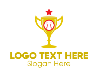 First Place - Gold Baseball Trophy logo design