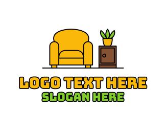 Living Room - Cozy Armchair Living Room logo design