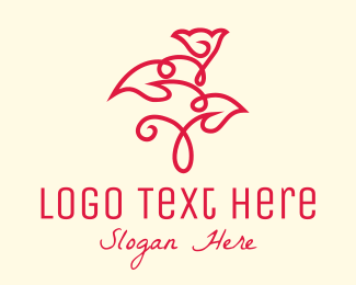 Organic Product - Red Minimalist Rosebud logo design