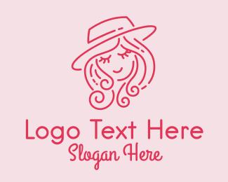 Sun Hat - Pretty Hat Lady logo design