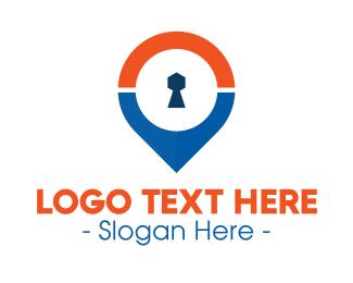 Locked - Keyhole GPS Pin logo design