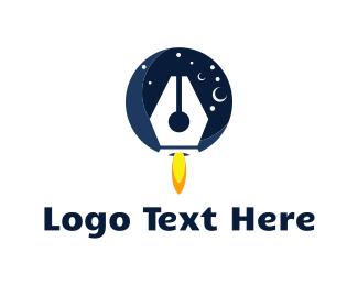 Spaceship - Pen Rocket logo design