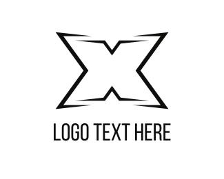 Hip Hop - Black Letter X logo design
