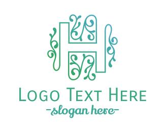 Letter H - Floral H logo design