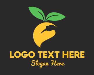 Yellow Leaf - Mango Bird logo design