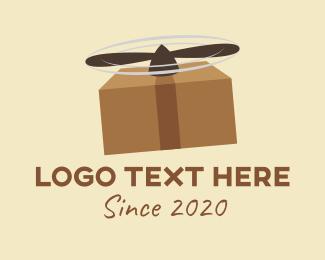 Parcel - Package Delivery Helicopter logo design