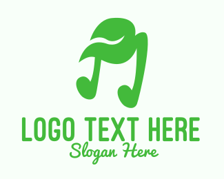 Green Note - Green Natural Musical Note logo design