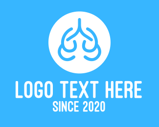 Oxygen - Blue Abstract Lungs logo design