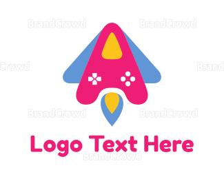 Blue And Pink - Pink Rocket Controller logo design