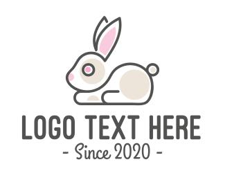 Pet Care - Cute Bunny Pet Shop logo design