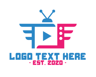 Video Conferencing - Blue Pink TV App logo design