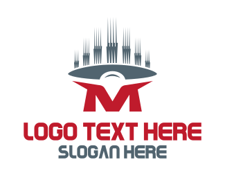 Acoustic - Red Letter M logo design
