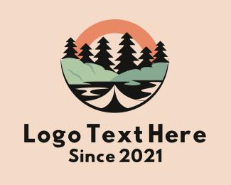 Camping Tent - Tree Lake Outdoor logo design